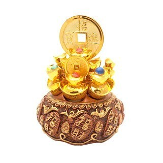 Overloaded Wealth Pot with Golden Ingots and Coins