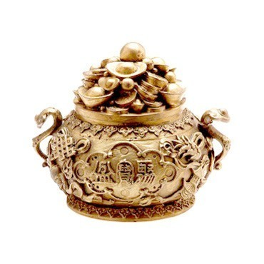 Overloaded Bronze Wealth Pot with Golden Ingots and Coins