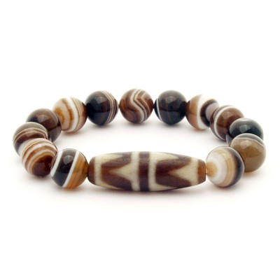 Old Agate 4 Line Tiger Tooth Dzi Bead Bracelet