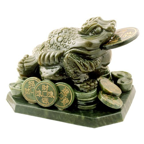 Jade Three Legged Toad Sitting On Coins and Ingots