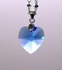 Aquamarine Heart-Shape Crystal Pendant for Healing Energies