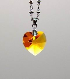 Yellow Heart-Shape Crystal Pendant for Wealth and Money Luck