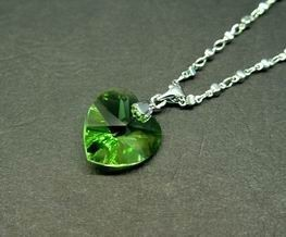 Green Heart-Shape Crystal Pendant for Growth and Expansion