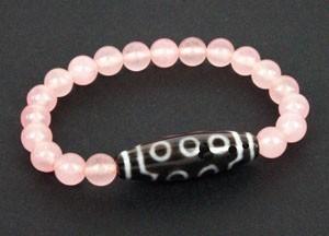 10 Eyed Dzi Bead with Natural Rose Quartz Beads Bracelet