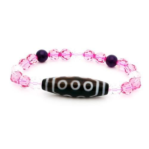 10 Eyed Dzi Bead with Swarovski Crystal Bracelet ( Pink )