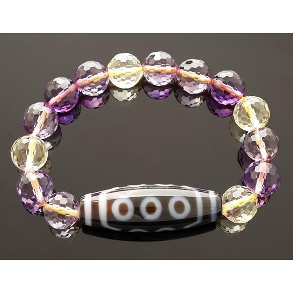 10 Eyed Dzi with Ametrine Beads Bracelet
