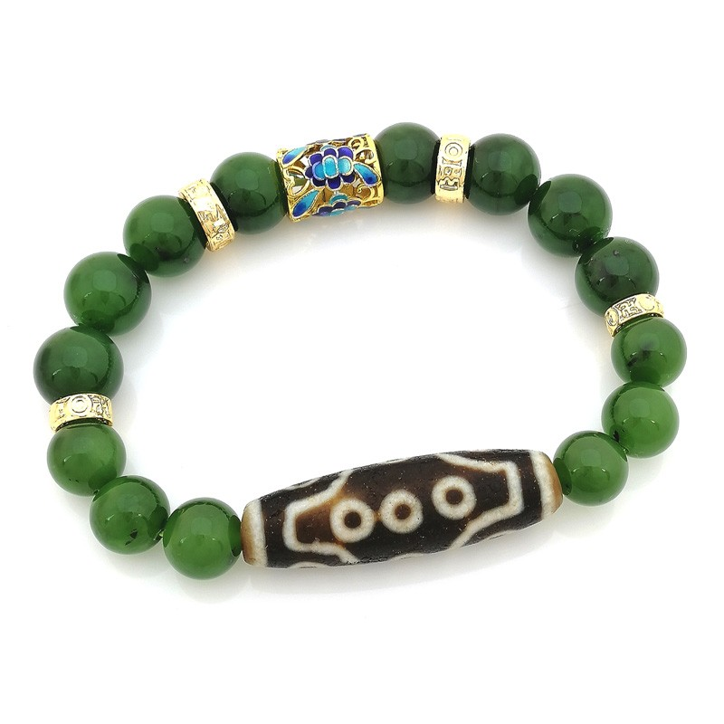 Authentic OLD Agate 12-Eyed dZi Bead Bracelet for Fame and Recognition