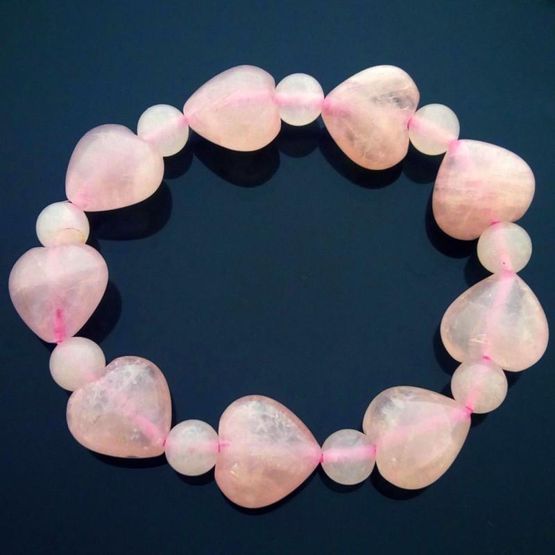 Heart Shape Rose Quartz Bracelet for Love