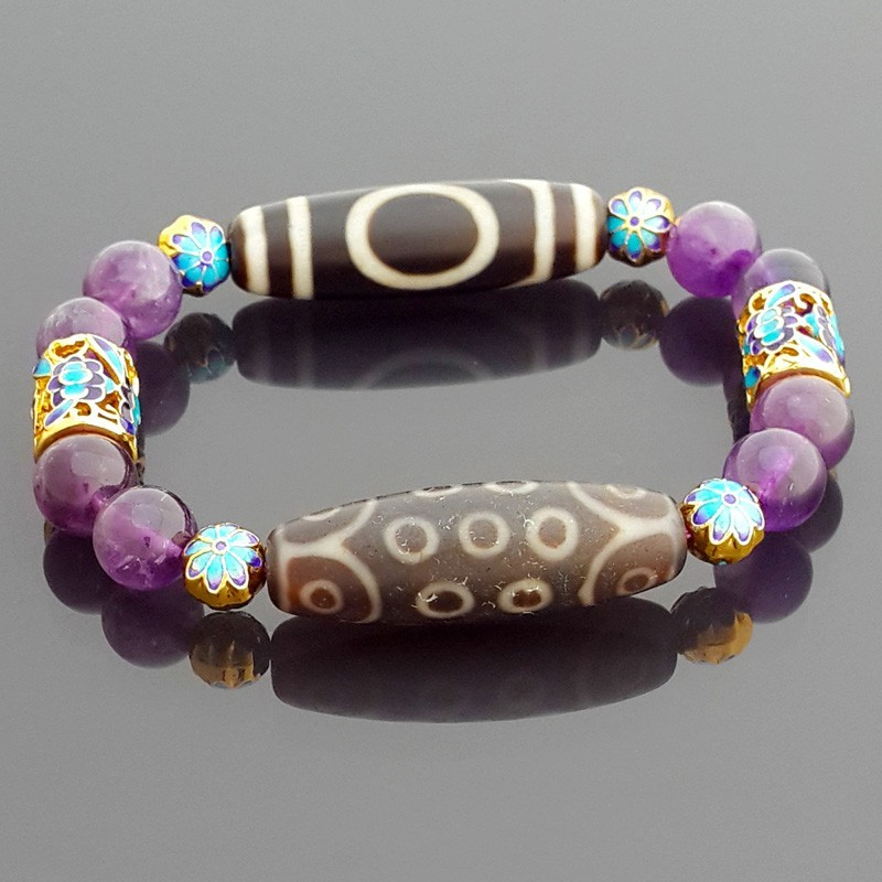 Authentic OLD Agate Dzi Beads 1 Eye and 21 Eyes Bracelet for Wish Fulfillments