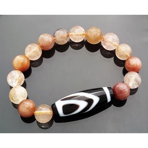 1 Eyed Dzi Bead with Natural Rutilated Quartz Bracelet