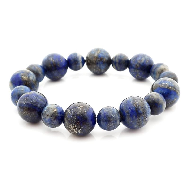 Genuine Lapis Lazuli Round Beads Bracelet