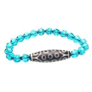 21 Eyes Dzi Bead with Swarovski Crystal Bracelet ( Blue Zircon )