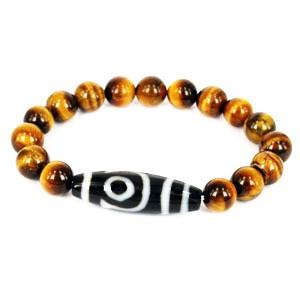 Two Eyed Dzi with Tiger Eye Beads Bracelet