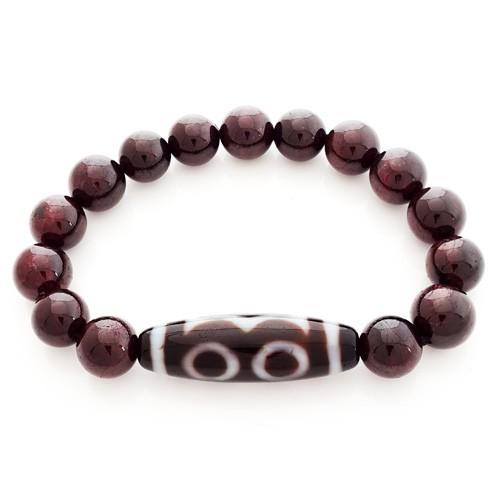 3 Eyed Dzi Bead with Natural Red Garnet Bracelet