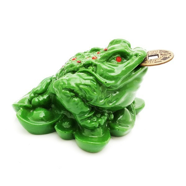 Three Legged Toad on Bed of Ingots - Green
