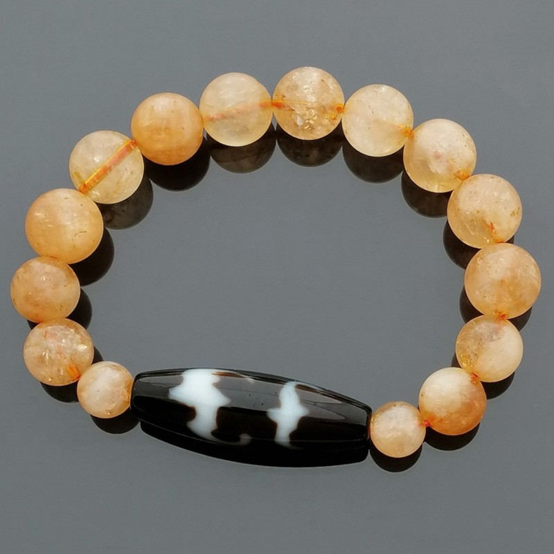 Authentic Tibetan Agate Dzi Bead 5 Auspicious Bats with Citrine Bracelet