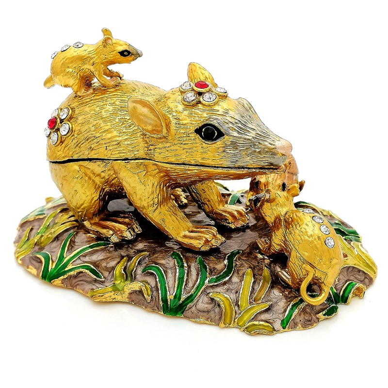 Bejeweled Auspicious 5 Rats Bring Good Fortune and Wealth Luck