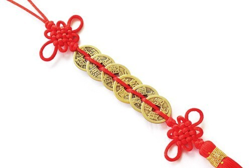 Feng Shui Six Emperor Coins Tassel with Mystic Knot