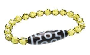 7 Eyed Dzi Bead with Swarovski Crystal Bracelet ( Olivine )
