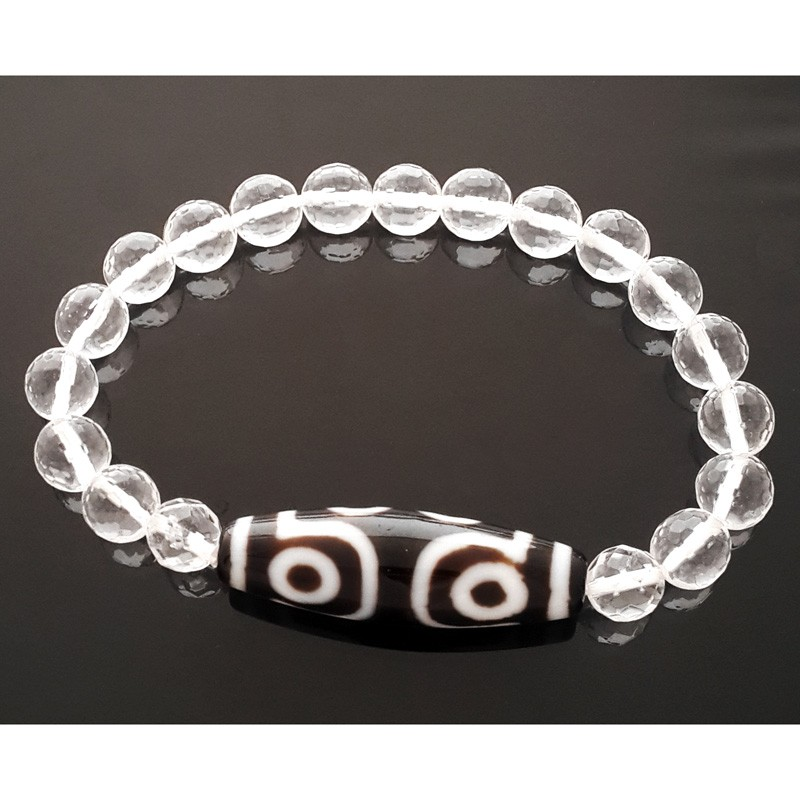 7 Eyed Dzi Bead with 8mm Faceted Clear Quartz Bracelet