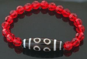 8 Eyed Dzi Bead with RED Swarovski Crystals Bracelet