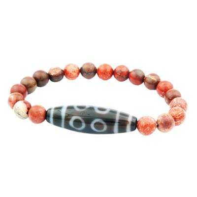8 Eyes Dzi Bead with Natural Red Jasper Bracelet