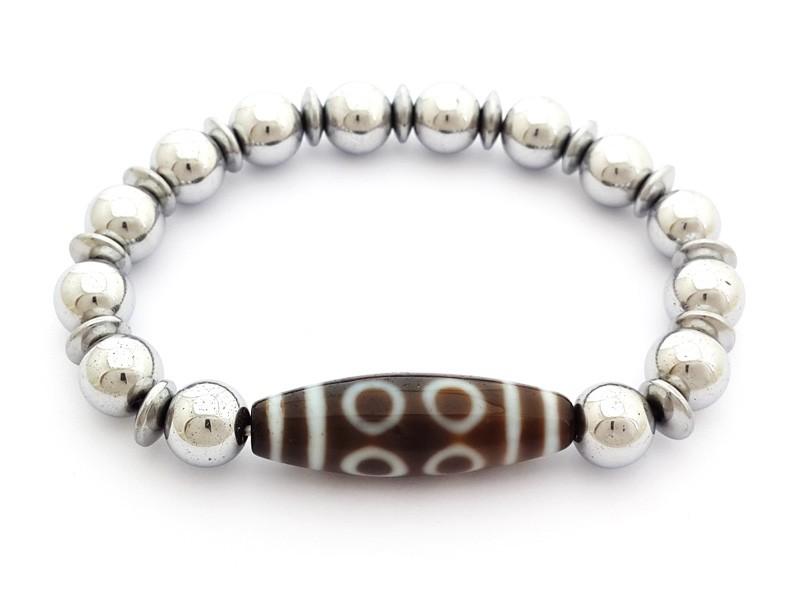 8 Eyed Dzi Bead with Natural Hematite Bracelet
