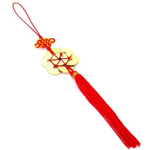 Feng Shui 8 GOLD Coins Tassel with Mystic Knot