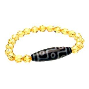 9 Eyed Dzi Bead with Swarovski Crystal Bracelet ( Citrine )