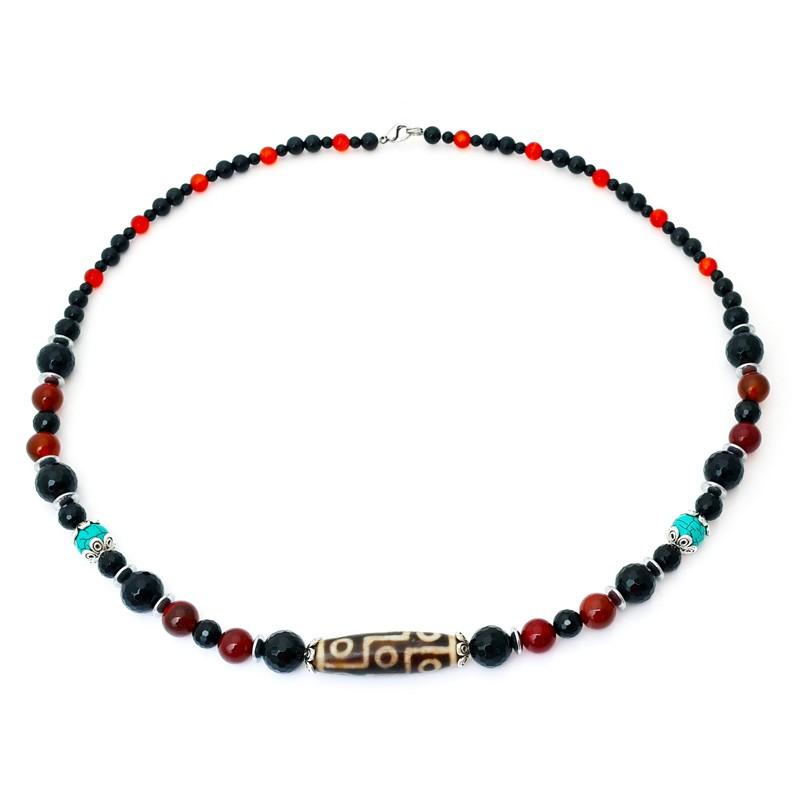 Authentic OLD Agate 9-Eyed dZi Bead Pendant Necklace
