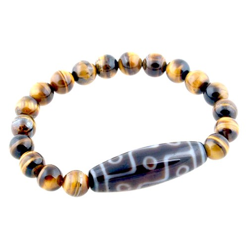 9 Eyed Dzi Bead with 8mm Tiger Eye Bracelet