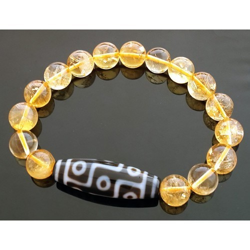 Tibetan Real 9 Eyes Dzi strung with Natural Citrine Beads Bracelet