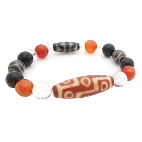 9 Eyes with Fortune Wave and Tiger Tooth Dzi Beads Bracelet