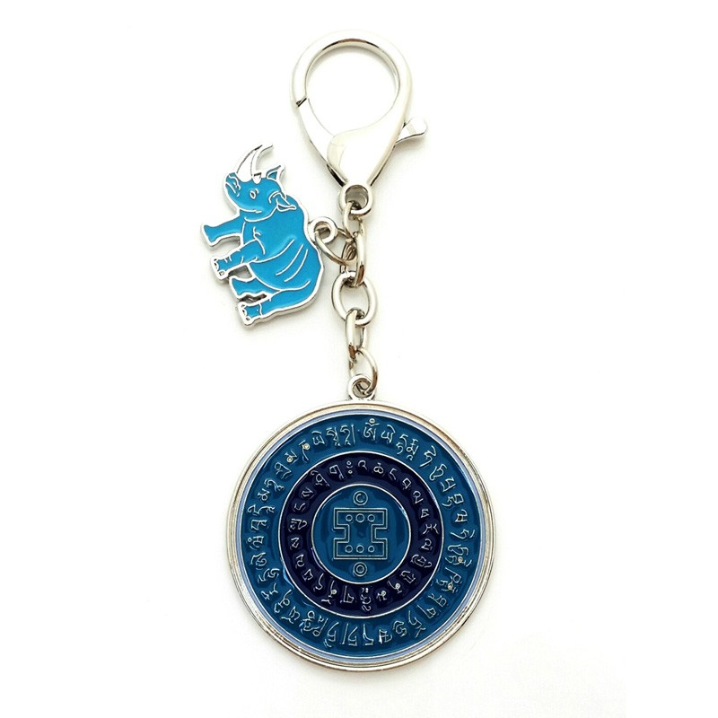 Anti Robbery Amulet With Blue Rhino And Elephant