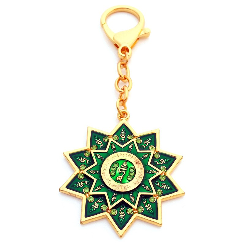 The Green Tara Protection Wheel Amulet Keychain