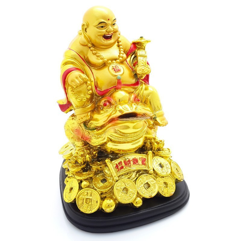 Golden Laughing Buddha on Money Frog