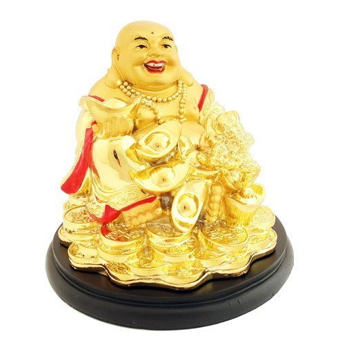 Golden laughing buddha with for Does buddha bring good luck