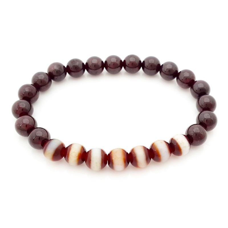 The 7 pieces of Medicine Dzi with Red Garnet Bracelet
