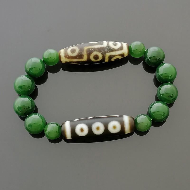 Authentic Tibetan OLD 5 Eyed and OLD 9 Eyed dZi Beads Bracelet for Success and Protection