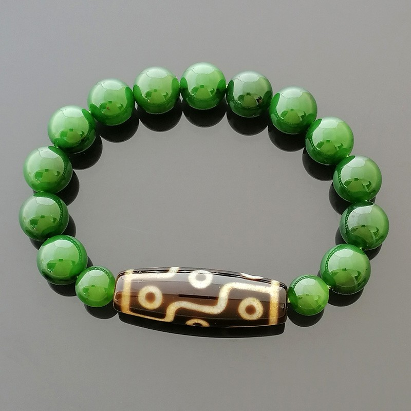 Authentic Tibetan OLD Agate 9 Eyes dZi Bead Bracelet for Wealth and Success