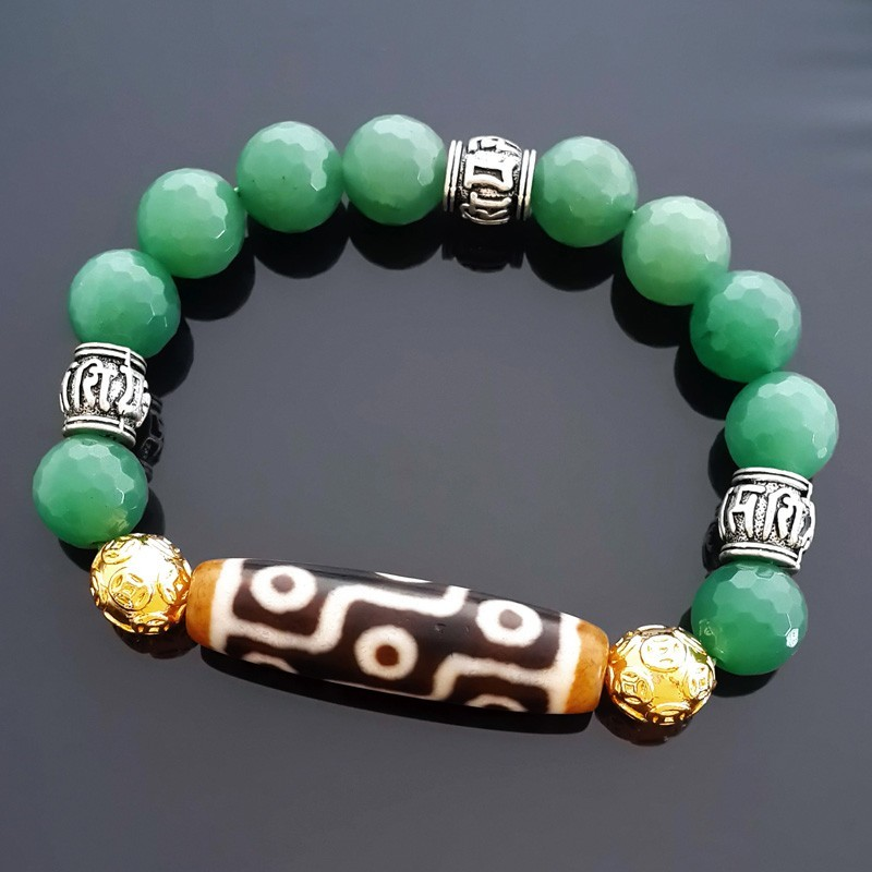 Authentic OLD Dzi Bead 9 Eyes with Aventurine Bracelet