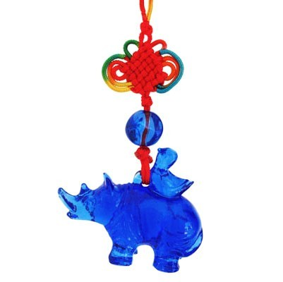 Liuli Blue Rhinoceros Tassel for Protection
