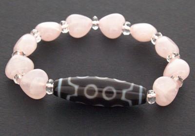 10 Eyed Dzi Bead with Heart Shape Rose Quartz Beads Bracelet