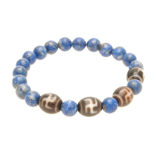 Hotu Dzi Beads with Natural Lapis Lazuli Bracelet