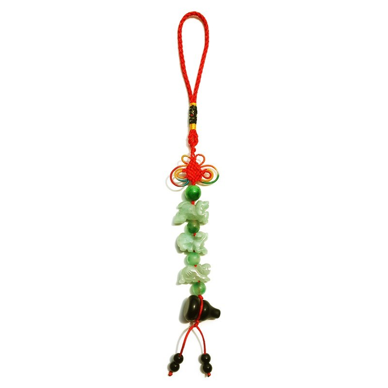 Feng Shui Three Horoscope Allies Jade Lucky Tassel with Obsidian Wu Lou for TIGER, HORSE and DOG