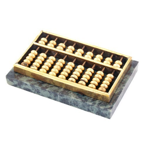 Brass Abacus with Marble Stand - Small