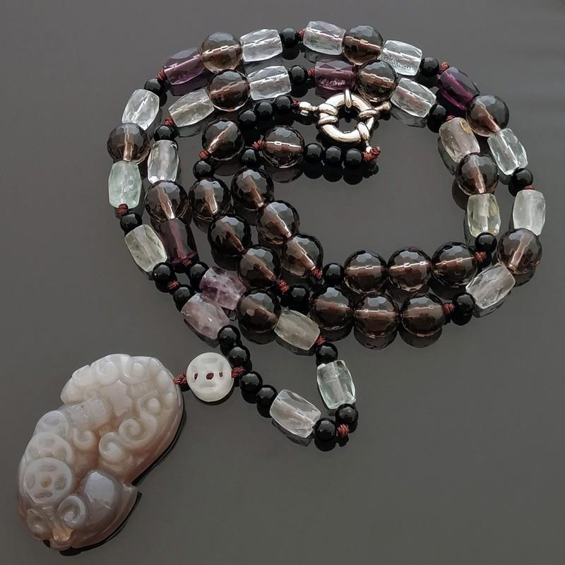 Feng Shui Pi Yao Pi Xiu Agate LUCKY Amulet Necklace
