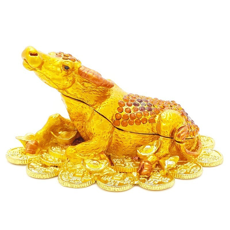 Bejeweled Wish Fulfilling Cow on Bed of Gold Coins and Ingots