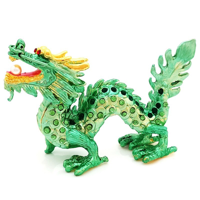 Bejeweled Auspicious Green Dragon For Good Fortune