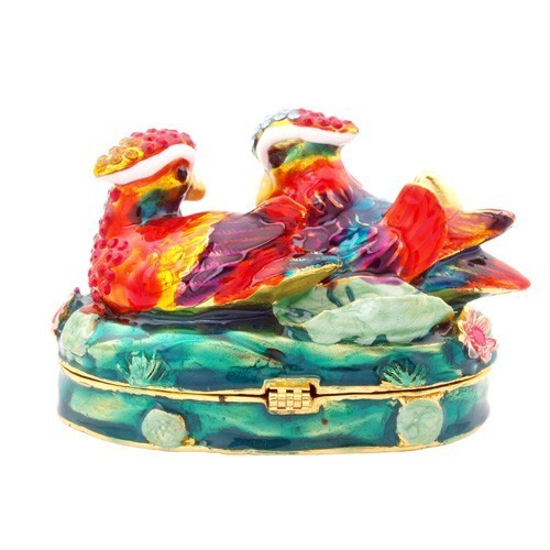 Bejeweled Mandarin Ducks For Love and Romance Luck